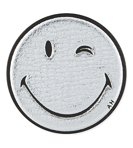 ANYA HINDMARCH Wink leather sticker (Silver+metallic