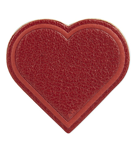 ANYA HINDMARCH Heart leather sticker (Red+capra