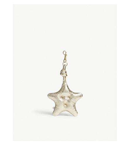 ANYA HINDMARCH Chubby metallic leather star charm (Gold+crinkled+metallic