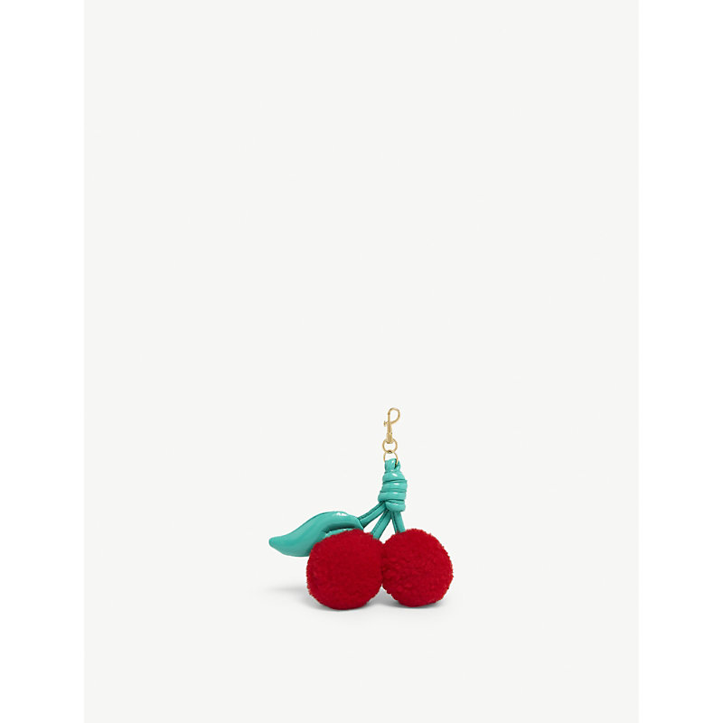 Shearling and leather cherry charm