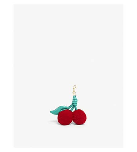 ANYA HINDMARCH Shearling and leather cherry charm (Red+shear+jade+naplak