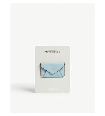 ANYA HINDMARCH Leather envelope purse sticker (Aquamarine+circus