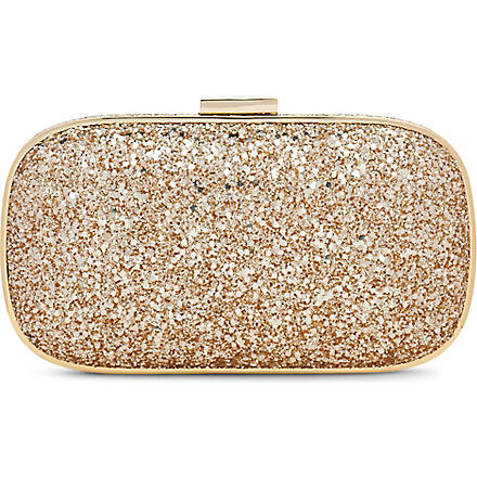 ANYA HINDMARCH Marano glitter–embellished framed clutch (Gold