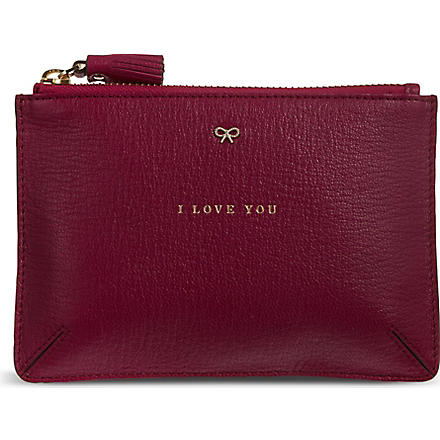 ANYA HINDMARCH I Love You Pouch (Fuschia