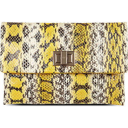 ANYA HINDMARCH Valorie snakeskin clutch (Yellow