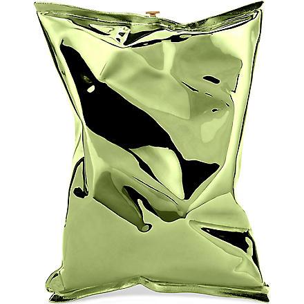 ANYA HINDMARCH Crisp packet metal clutch (Green