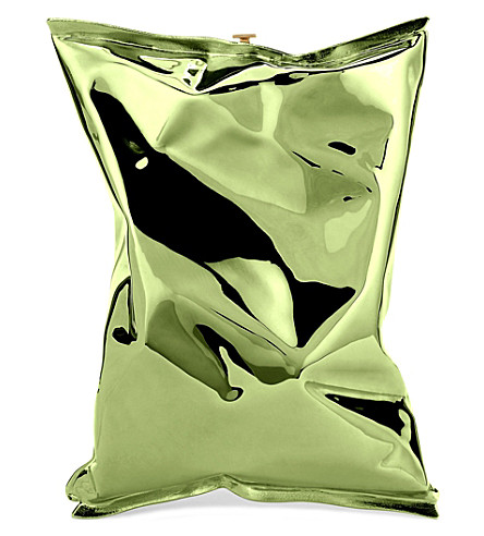 ANYA HINDMARCH Crisp packet metal clutch (Green