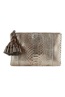 ANYA HINDMARCH Anthracite snake print Georgiana clutch