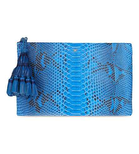 ANYA HINDMARCH Georgiana python clutch (Cobalt