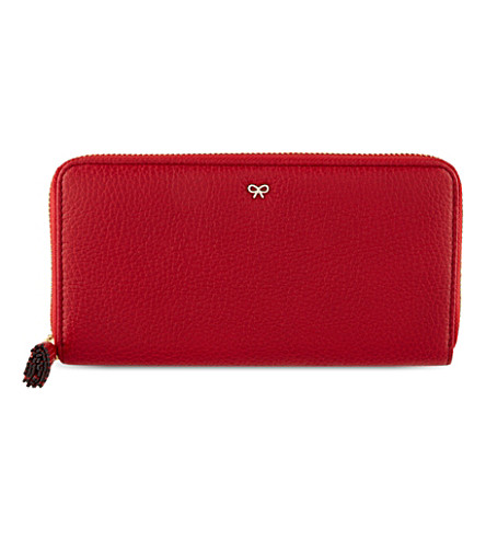 ANYA HINDMARCH Large zip-around leather wallet (Red
