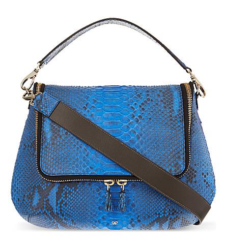 ANYA HINDMARCH Maxi zip python satchel (Cobalt