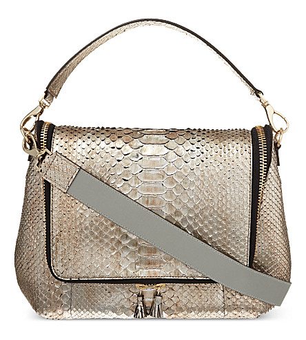 ANYA HINDMARCH Maxi zip python satchel (Anthracite