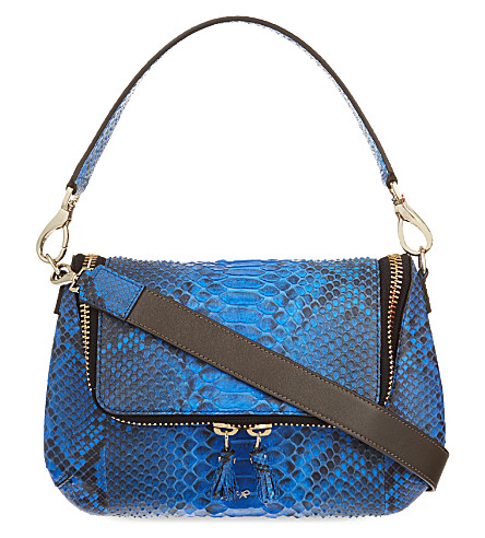 ANYA HINDMARCH Maxi zip python cross-body bag (Cobalt