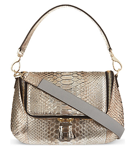 ANYA HINDMARCH Maxi zip python cross-body bag (Anthracite