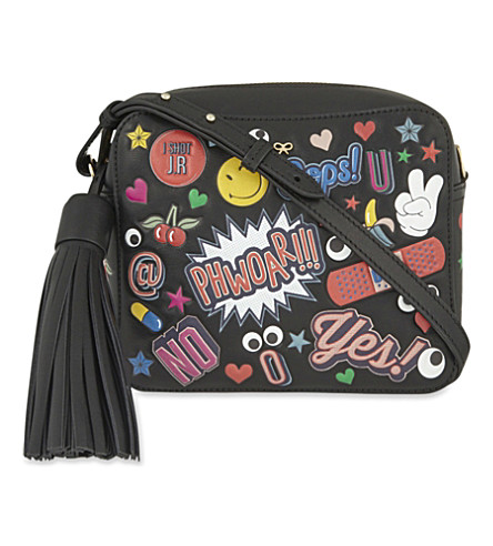 ANYA HINDMARCH Stickers leather cross-body bag (Black