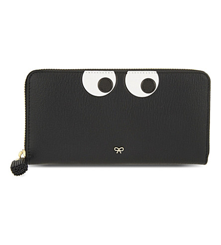 ANYA HINDMARCH Eyes leather zip-around wallet (Black