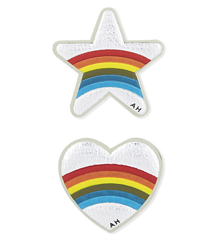 ANYA HINDMARCH Star and heart mini leather stickers (Silver+metallic+capra