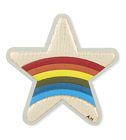 ANYA HINDMARCH Star rainbow leather sticker (Pale+gold+metallic