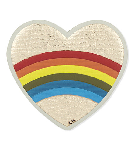 ANYA HINDMARCH Heart rainbow leather sticker (Pale+gold+metallic
