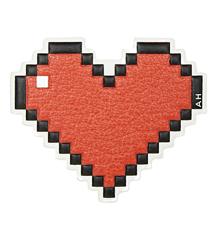 ANYA HINDMARCH Pixel leather heart sticker (Flame red capra