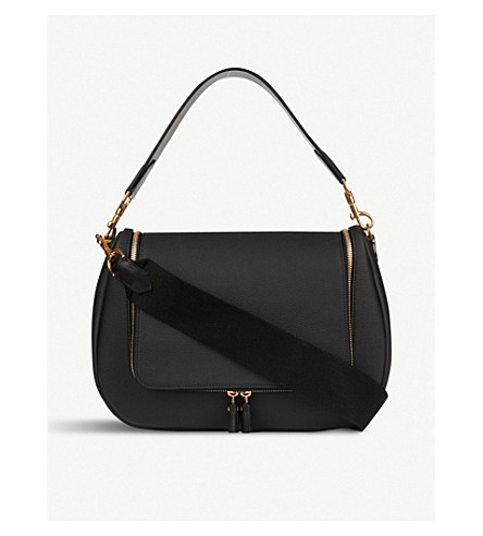 ANYA HINDMARCH Vere grained leather saddle bag (Black