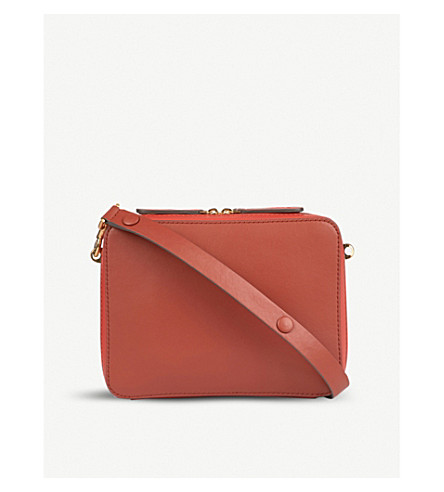 ANYA HINDMARCH The Stack Double leather cross-body bag (Hazelnut