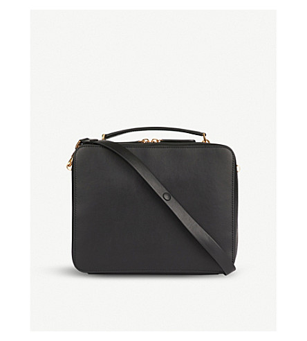 ANYA HINDMARCH The Stack Double leather satchel (Black