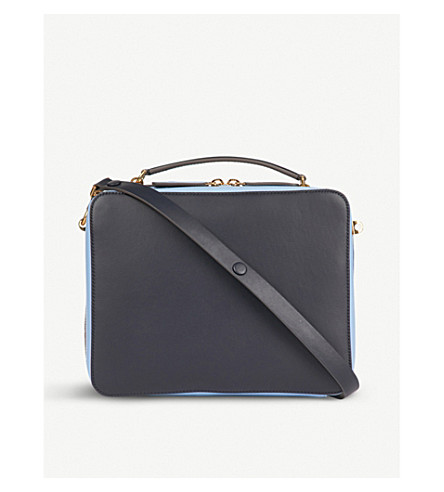 ANYA HINDMARCH The Stack Double leather satchel (Marine
