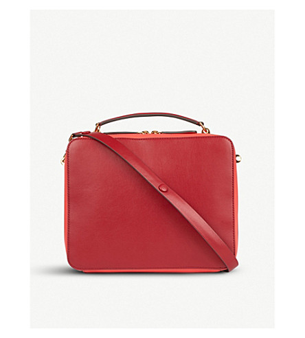 ANYA HINDMARCH The Stack Double leather satchel (Red