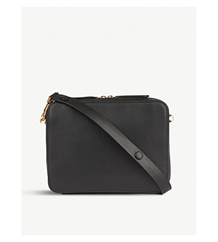 ANYA HINDMARCH The Stack Double leather cross-body bag (Black
