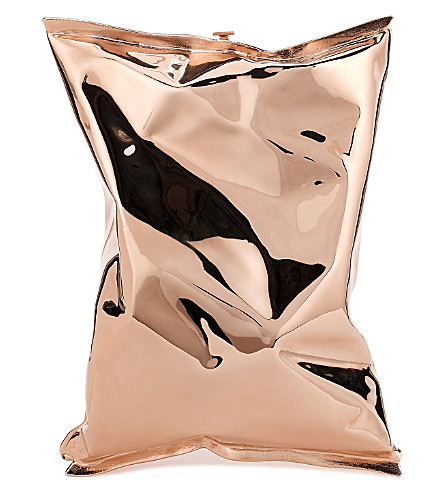 ANYA HINDMARCH Crisp Packet 18ct rose-gold clutch (Rose gold