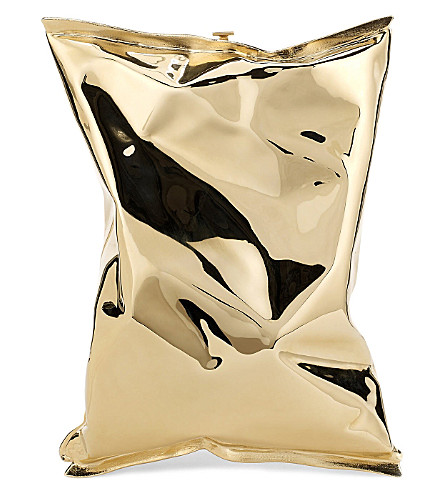 ANYA HINDMARCH Crisp Packet 18ct yellow-gold clutch (Gold