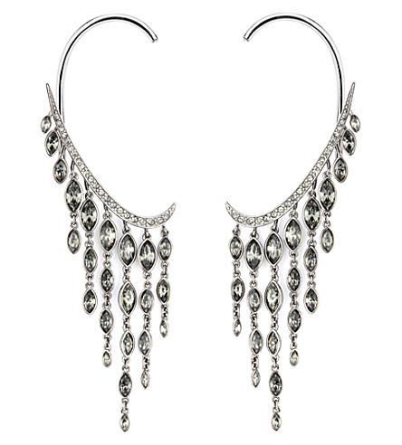 ATELIER SWAROVSKI Swift Swarovski-crystal, black diamond and ruthenium clip-on earrings (Black diamond