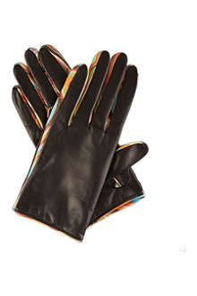 PAUL SMITH Swirl trim leather gloves