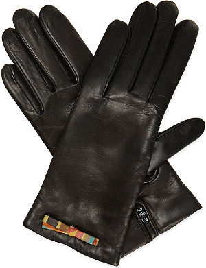 PAUL SMITH Swirl bow leather gloves