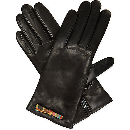 PAUL SMITH Swirl bow leather gloves (Black
