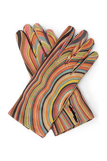 PAUL SMITH Swirl-printed leather gloves