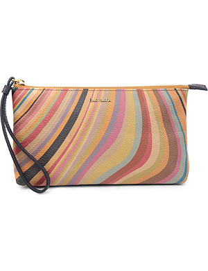 PAUL SMITH Swirl leather wristlet pouch