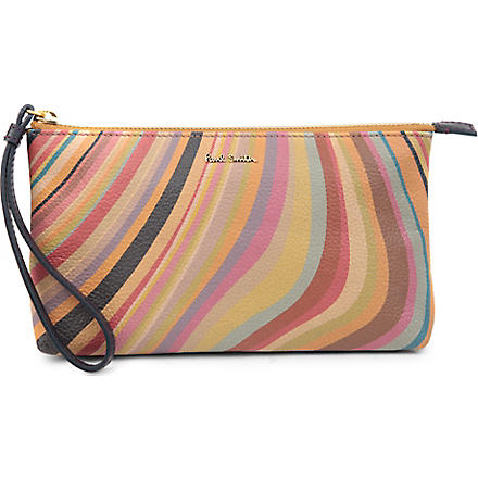 PAUL SMITH Swirl leather wristlet pouch (Swirl