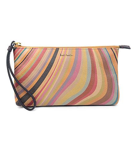 PAUL SMITH Swirl leather wristlet pouch (Swirl