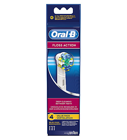 ORAL B Pack of four Oral-B Floss Action replacement toothbrush heads