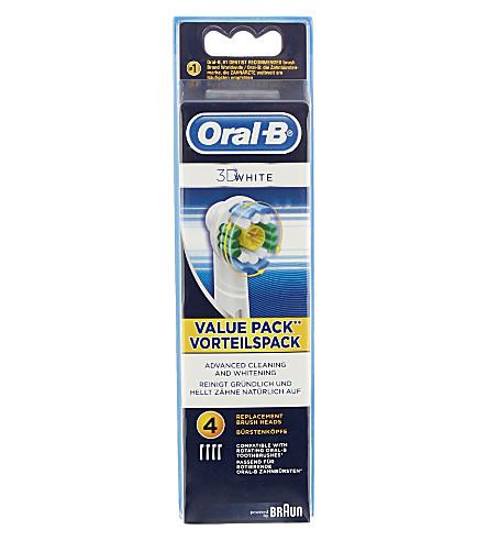 ORAL B 四个口服 B 3D 白色更换牙刷头包