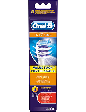 ORAL B Oral-B Trizone replacement toothbrush heads pack of 4