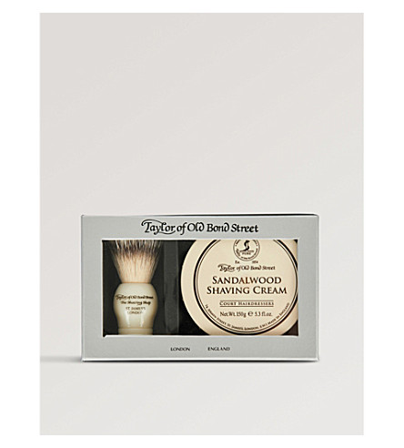 TAYLOR OF OLD BOND STREET Shaving brush and Sandalwood shaving cream set 150g