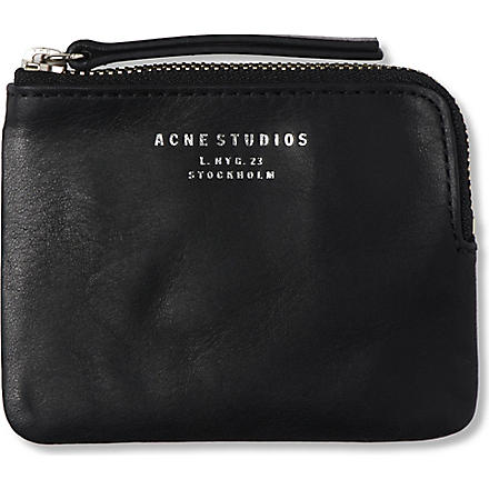ACNE Leather coin pouch (Black