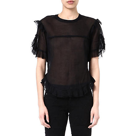 ISABEL MARANT Brett sheer ruffled top (Black
