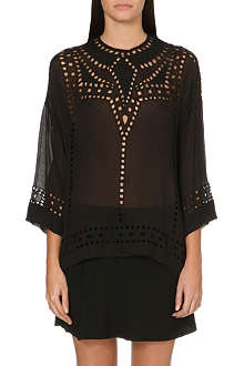 ISABEL MARANT ETOILE Ethan cut-out embroidered georgette top