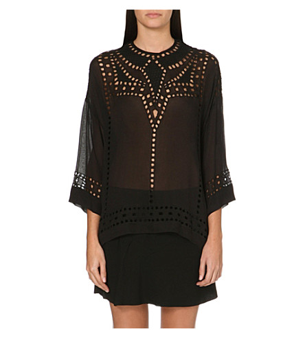 ISABEL MARANT ETOILE Ethan cut-out embroidered georgette top (Black