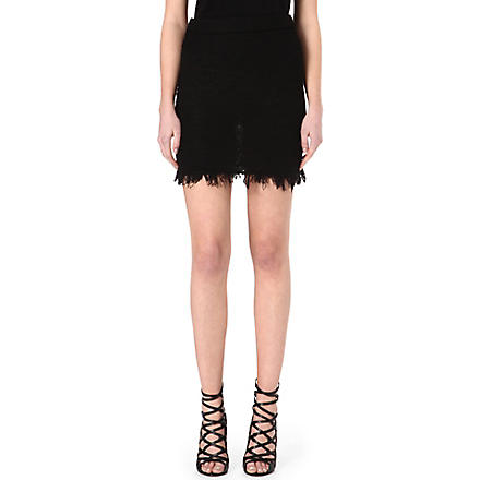 ISABEL MARANT Glens fringed knitted skirt (Black