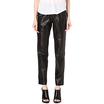 ISABEL MARANT Becka leather elasticated-waist trousers (Black